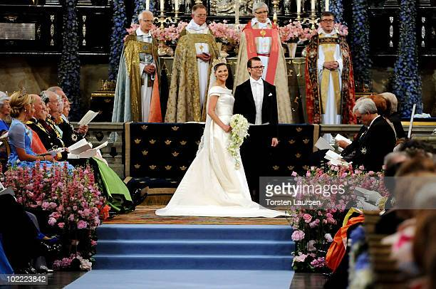 Crown Princess Victoria of Sweden, Duchess of Västergötland, and her husband Prince Daniel, Duke of Västergötland, are seen during their wedding...