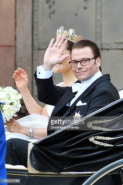 Crown Princess Victoria of Sweden, Duchess of Västergötland, and her husband Prince Daniel, Duke of Västergötland, are seen after their wedding...
