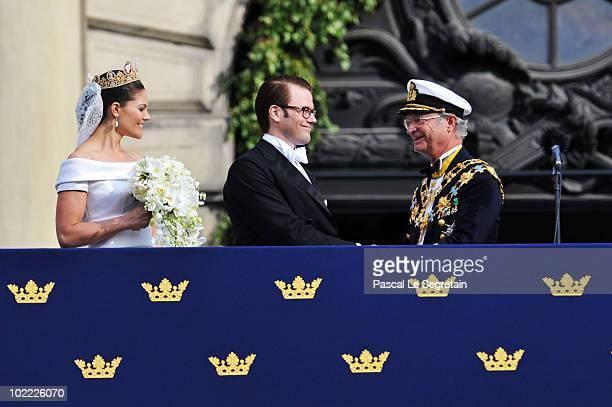 Crown Princess Victoria of Sweden, Duchess of Västergötland, and her husband Prince Daniel, Duke of Västergötland, meet King Carl Gustaf of Sweden...