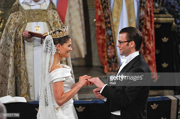 Crown Princess Victoria of Sweden Duchess of Västergötland and her husband Prince Daniel of Sweden Duke of Västergötland are seen during their...