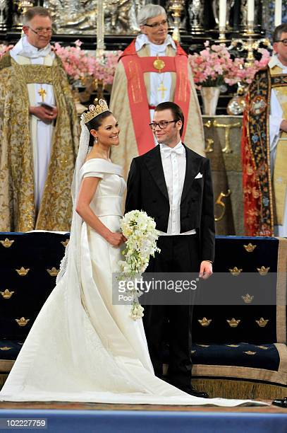 Crown Princess Victoria of Sweden, Duchess of Västergötland, and her husband Prince Daniel of Sweden, Duke of Västergötland, are seen during their...