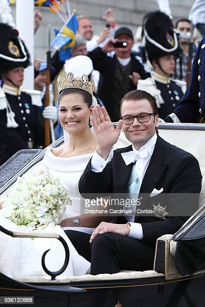 Crown Princess Victoria of Sweden Duchess of Västergötland and her husband Prince Daniel Duke of Västergötland are seen after their wedding ceremony...