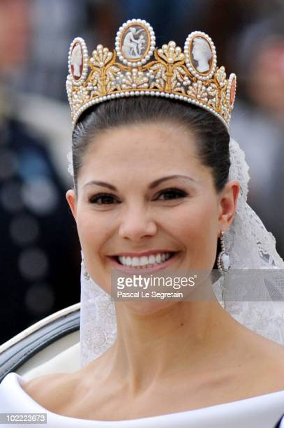 Crown Princess Victoria of Sweden Duchess of Västergötland is seen after their wedding ceremony on June 19 2010 in Stockholm Sweden