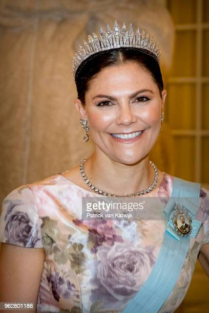 Crown Princess Victoria of Sweden during the gala banquet on the occasion of The Crown Prince's 50th birthday at Christiansborg Palace Chapel on May...