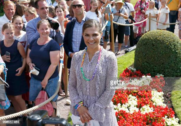 Crown Princess Victoria of Sweden during the occasion of her 41st birthday celebrations at Solliden Palace on July 14 2018 in Oland Sweden