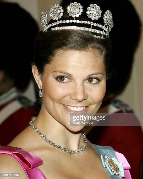 Crown Princess Victoria Of Sweden -Gala Dinner At Christiansborg In Copenhagen During The Swedish State Visit To Denmark. .
