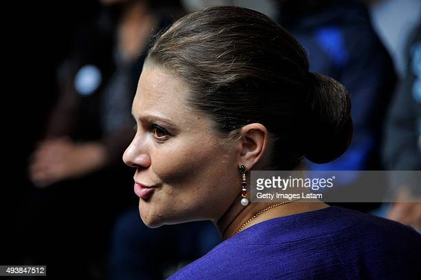 Crown Princess Victoria of Sweden gestures during a visit to the enterprise driven project 'Ruta Motor' on October 22, 2015 in Bogota, Colombia.