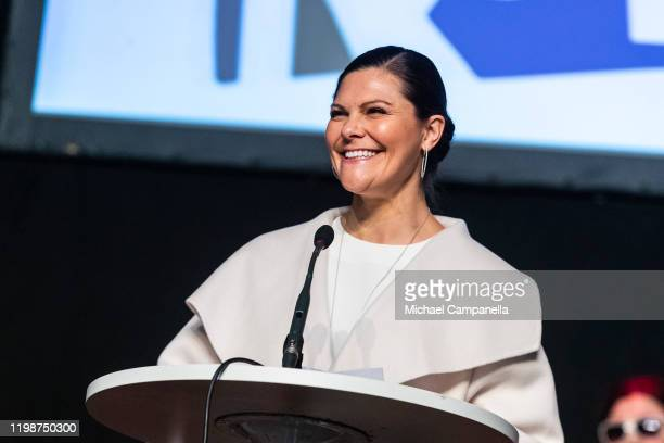 Crown Princess Victoria of Sweden gives a speech during the Folk and Culture 2020 festival at STIGA Sports Arena on February 5 2020 in Eskilstuna...