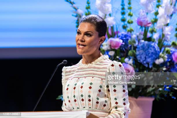 Crown Princess Victoria of Sweden gives the keynote speech while attending the annual conference of the European Society of International Law at...
