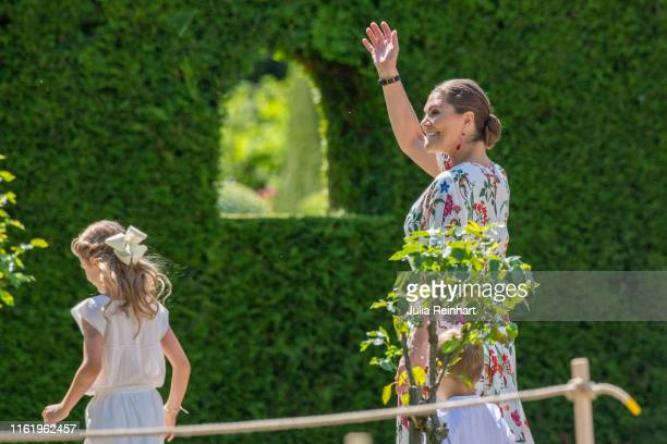 Crown Princess Victoria of Sweden greets the crowd at The Crown Princess Victoria of Sweden's 42nd birthday celebrations on July 14 2019 at Solliden...