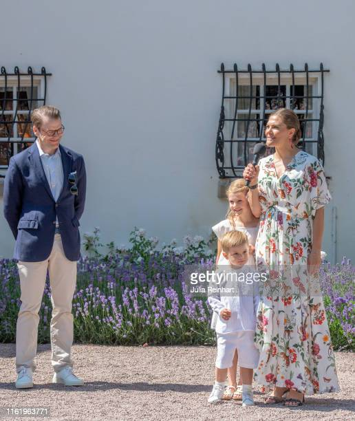Crown Princess Victoria of Sweden greets the crowds during The Crown Princess Victoria of Sweden's 42nd birthday celebrations on July 14 2019 at...