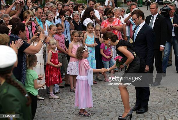 Crown Princess Victoria of Sweden her husband Prince Daniel Duke of Vastergotland arrive at Brauereigasthof Aying beergarden on May 24 2011 in Aying...