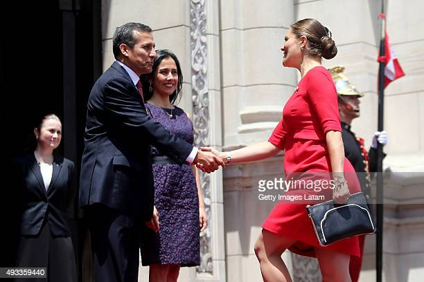 Crown Princess Victoria of Sweden is greeted by President of Peru, Ollanta Humala during an official visit at the Presidential Palace on October 19,...