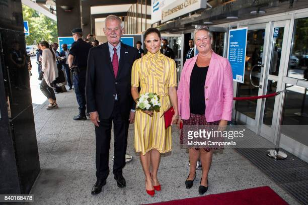 Crown Princess Victoria of Sweden is greeted by SIWI chairman Peter Forssman and SIWI director Katarina Veem before attending a seminar on antibiotic...
