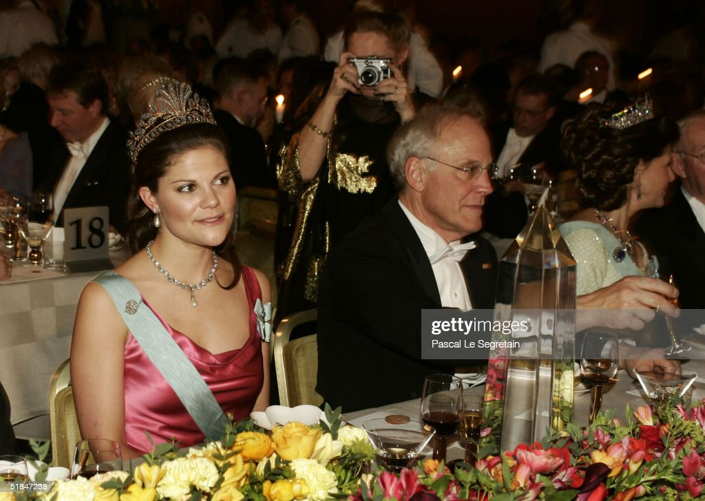 Crown Princess Victoria of Sweden is seen during the Nobel Banquet at City Hall on December 10, 2004 in Stockholm, Sweden. The prizes were being awarded at simultaneous ceremonies in Stockholm and Oslo, Norway.