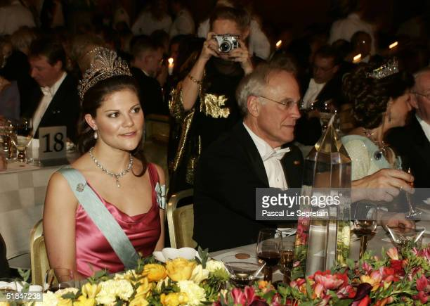 Crown Princess Victoria of Sweden is seen during the Nobel Banquet at City Hall on December 10, 2004 in Stockholm, Sweden. The prizes were being...