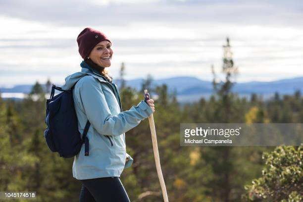 Crown Princess Victoria of Sweden is seen hiking in Skuleskogen National Park on October 3 2018 in Ornskoldsvik Sweden The Crown Princess is...
