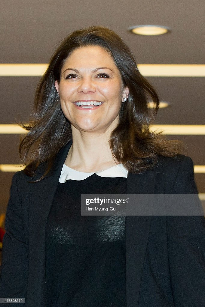 H. Crown Princess Victoria of Sweden is seen upon arrival at Incheon International Airport on March 23, 2015 in Incheon, South Korea. H.R.H the Crown Princess of Sweden Victoria is visiting South Korea from March 23 to 24.
