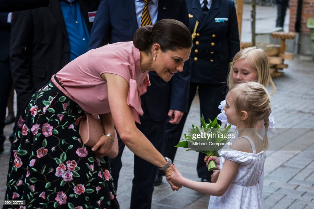 Crown Princess Victoria of Sweden is seen visiting visit Arkitema, a danish architecture firm, on May 30, 2017 in Stockholm, Sweden.