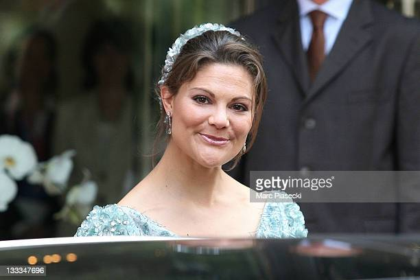 Crown Princess Victoria of Sweden is sighted leaving the 'Hermitage' hotel to attend the Royal Wedding of Prince Albert II of Monaco to Charlene...