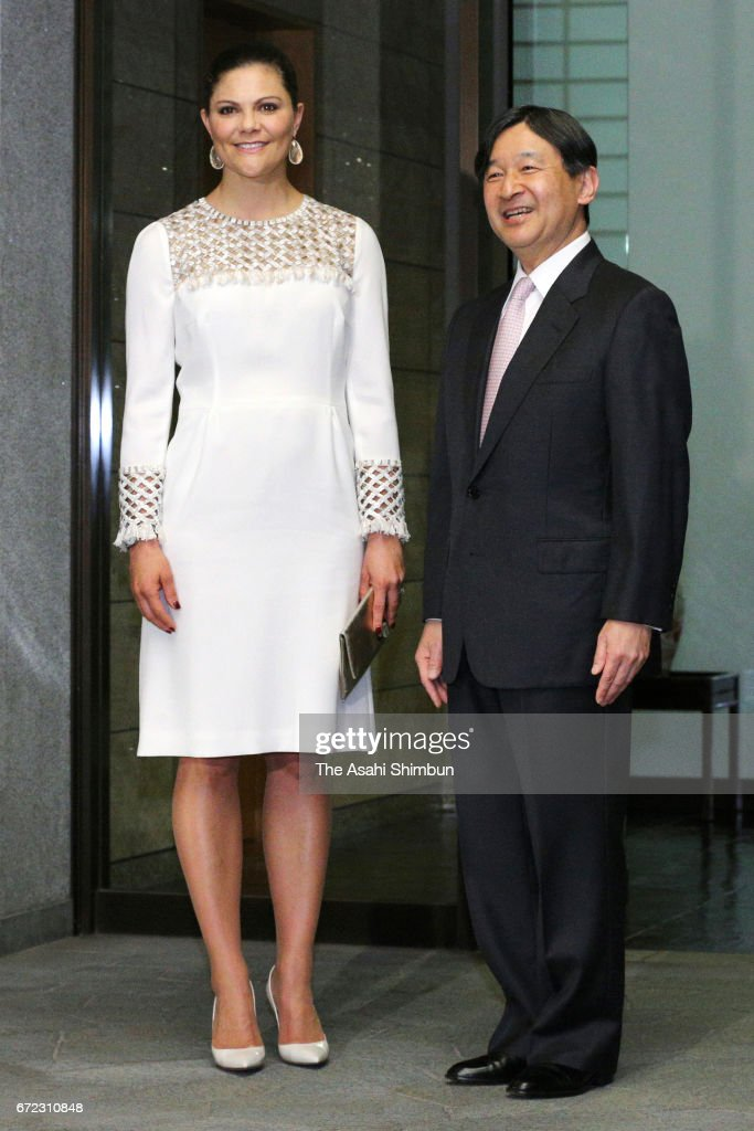 Crown Princess Victoria Of Sweden is welcomed by Crown Prince Naruhito of Japan prioir to their meeting at Togu Palace on April 21, 2017 in Tokyo, Japan.