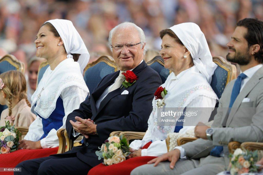 Crown Princess Victoria of Sweden, King Carl Gustaf of Sweden, Queen Silvia of Sweden and Prince Carl Philip of Sweden attend the celebrations of Crown Princess Victoria of Sweden's 40th birthday at Borgholm IP on July 14, 2017 in Borgholm, Sweden.