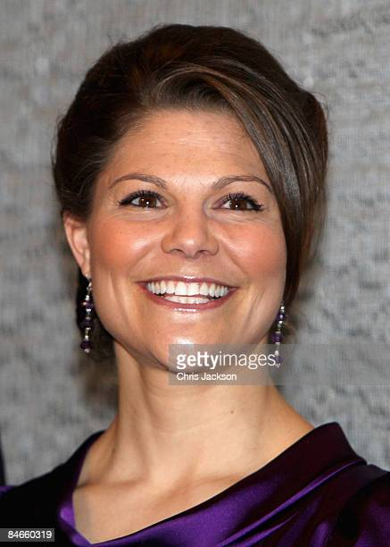 Crown Princess Victoria of Sweden laughs as she attends the 'Exploring A New Identity' Swedish Fashion event at the Design And Textile Museum on...