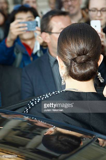 Crown Princess Victoria of Sweden leaves Le Petit Palais after visiting the Carl Larsson exhibition on March 6 2014 in Paris France