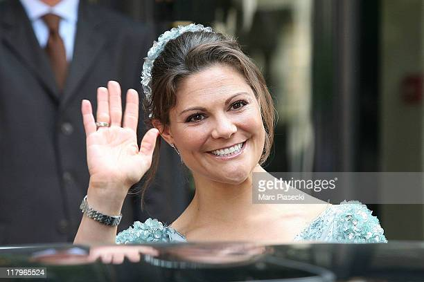 Crown Princess Victoria of Sweden leaves the 'Hermitage' hotel to attend the religious ceremony of the Royal Wedding of Prince Albert II of Monaco to...