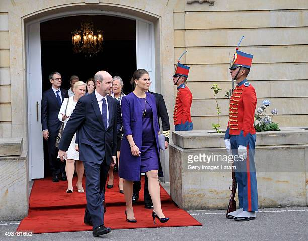Crown Princess Victoria of Sweden leaves the Presidential Palace Casa de Nariño after a private meeting with Colombia's president Juan Manuel Santos...