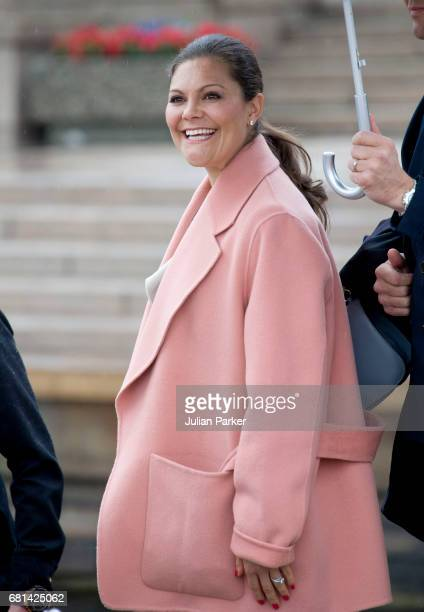 Crown Princess Victoria of Sweden leaves to attend a lunch on the Norwegian Royal Yacht 'Norge' as part of the celebrations of the 80th Birthdays of...