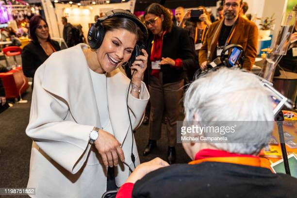 Crown Princess Victoria of Sweden listens to music while attending the Folk and Culture 2020 festival at STIGA Sports Arena on February 5, 2020 in...