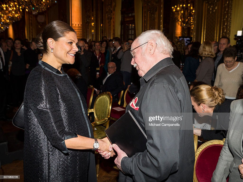 Crown Princess Victoria of Sweden meets with Jan Malmsjoe at the presentation of Scholarships From Micael Bindefeld Foundation in Memory Of The Holocaust at the Royal Opera House on January 27, 2016 in Stockholm, Sweden.