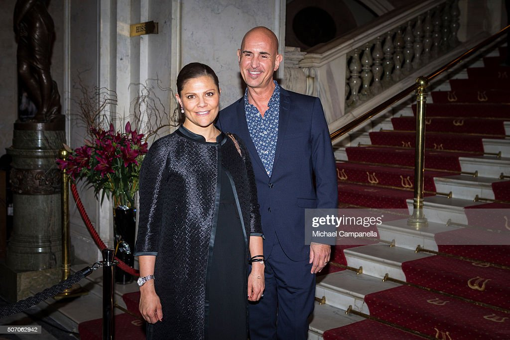Crown Princess Victoria of Sweden meets with Micael Bindefeld at the presentation of Scholarships From Micael Bindefeld Foundation in Memory Of The Holocaust at the Royal Opera House on January 27, 2016 in Stockholm, Sweden.