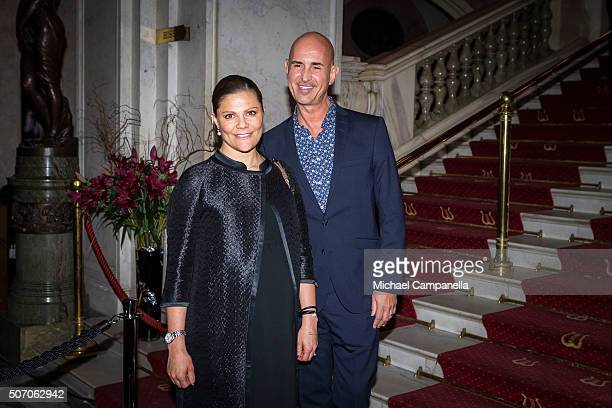 Crown Princess Victoria of Sweden meets with Micael Bindefeld at the presentation of Scholarships From Micael Bindefeld Foundation in Memory Of The...