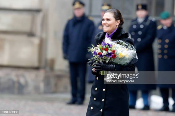 Crown Princess Victoria of Sweden participates in a celebration for her name day at the Stockholm Royal Palace on March 12 2018 in Stockholm Sweden