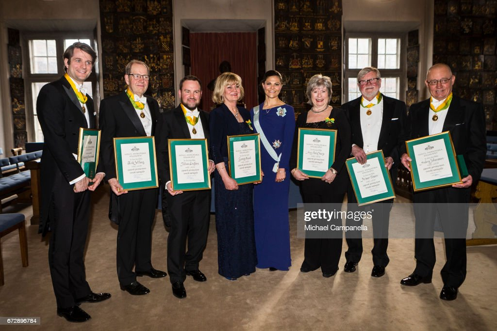 Crown Princess Victoria of Sweden poses for a picture with the winners of the Royal Patriotic Society's annual prize during an annual event at Riddarhuset on April 25, 2017 in Stockholm, Sweden.