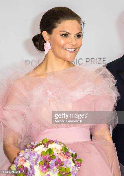 Crown Princess Victoria of Sweden poses on the red carpet during the 2019 Polar Music Prize award ceremony on June 11, 2019 in Stockholm, Sweden.