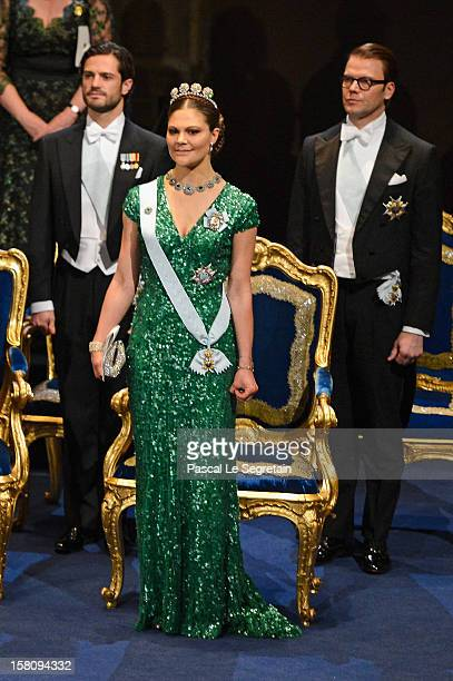 Crown Princess Victoria of Sweden Prince Carl Philip of Sweden and Prince Daniel of Sweden attend the Nobel Prize Ceremony at Concert Hall on...