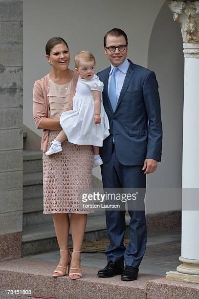 Crown Princess Victoria of Sweden Prince Daniel Duke of Vastergotland and daughter Princess Estelle of Sweden attend Victoria Day celebrations at...