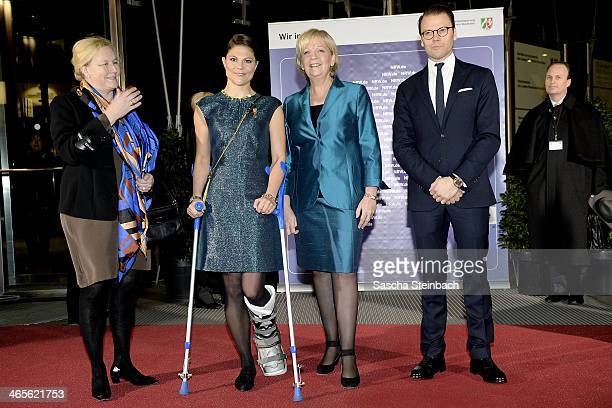 Crown Princess Victoria of Sweden , Prince Daniel of Sweden and Ewa Bjoerling arrive for a meeting with Hannelore Kraft , Prime Minister of North...