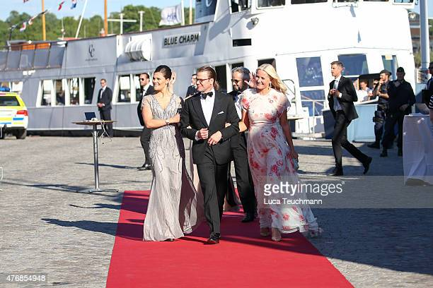 Crown Princess Victoria of Sweden Prince Daniel of Sweden and Princess MetteMarit of Norway arrive for the prewedding dinner for Prince Carl Philip...