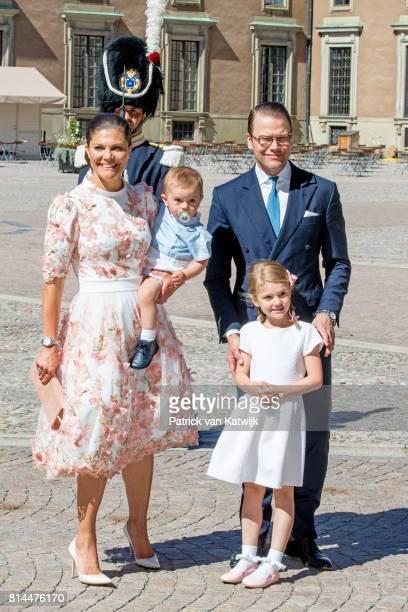 Crown Princess Victoria of Sweden Prince Daniel of Sweden Princess Estelle of Sweden and Prince Oscar of Sweden arrive for a thanksgiving service on...