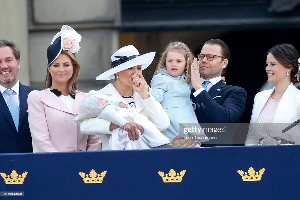 Crown Princess Victoria of Sweden; Prince Oscar of Sweden; Prince Daniel of Sweden and Princess Estelle of Sweden attend the choral tribute and cortege during the celebrations of the 70th birthday of King Carl Gustaf of Sweden on April 30, 2016 in Stockholm, .