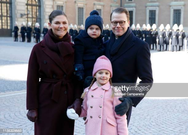 Crown Princess Victoria of Sweden Prince Oscar of Sweden Princess Estelle of Sweden and Prince Daniel of Sweden attend the Crown Princess' Name Day...