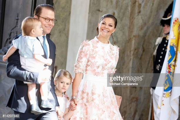 Crown Princess Victoria of Sweden Prince Oscar of Sweden Princess Estelle of Sweden and Prince Daniel of Sweden arrive for a thanksgiving service on...