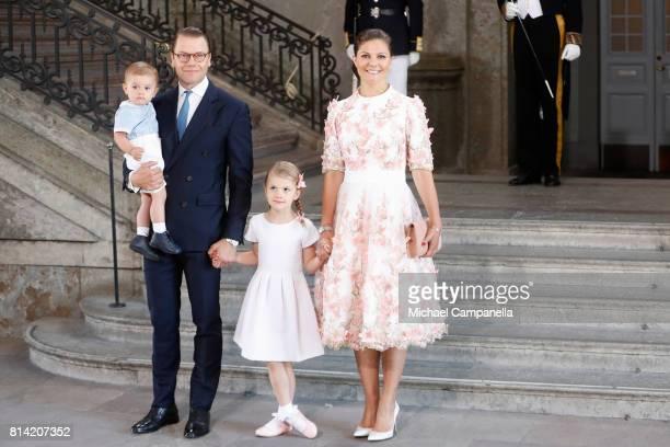 Crown Princess Victoria of Sweden Prince Oscar of Sweden Princess Estelle of Sweden and Prince Daniel of Sweden arrive for a thanksgiving service on...