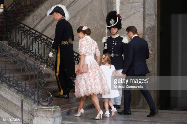 Crown Princess Victoria of Sweden, Prince Oscar of Sweden, Princess Estelle of Sweden and Prince Daniel of Sweden arrive for a thanksgiving service...