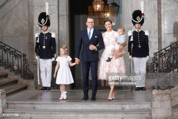 Crown Princess Victoria of Sweden Prince Oscar of Sweden Princess Estelle of Sweden and Prince Daniel of Sweden depart after a thanksgiving service...