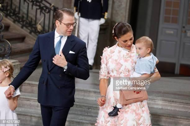 Crown Princess Victoria of Sweden Prince Oscar of Sweden Princess Estelle of Sweden and Prince Daniel of Sweden depart after a thanksgiving service...